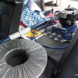 Muddringspumpen med standardaxeln på 2,5 m kan transporteras i de flesta bilar.
